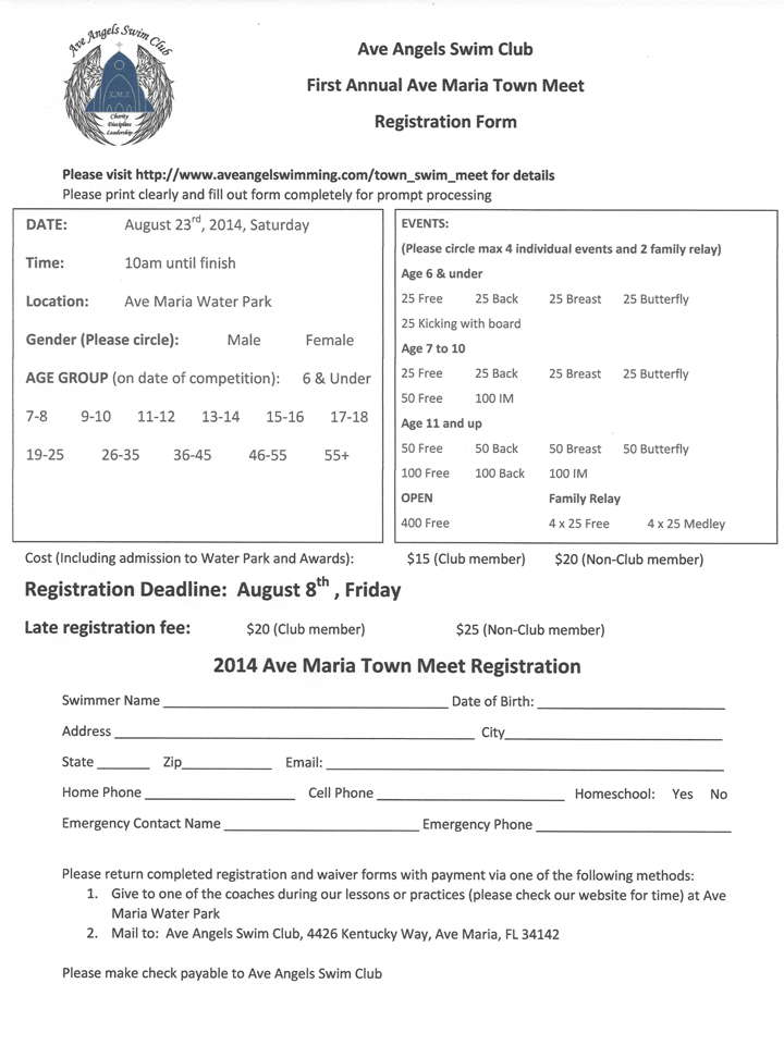 Ave Angels Swim Club Meet Registration Top And Waiver Forms Bottom Right Click Each Form
